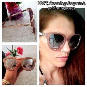 NWT, Guess mauve&gold logo sunglasses